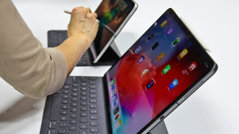An iPad Pro is reviewed after an event announcing new products Oct. 30, 2018, in the Brooklyn borough of New York.