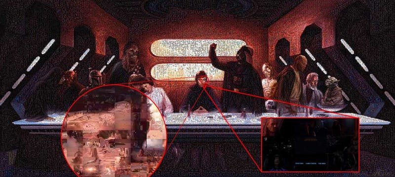 Illustration for article titled Skywalker Last Supper Painting Made With 69,550 Star Wars Frames