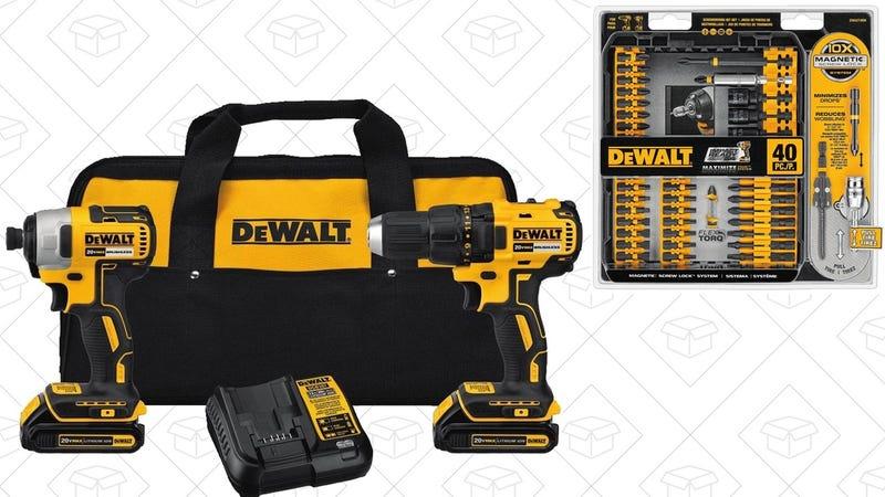 DEWALT Drill/Impact Combo Kit + Bit Set   $165   Amazon