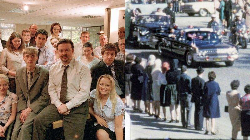 Illustration for article titled 6 Of The Biggest Differences Between The British Version Of 'The Office' And The Zapruder Film