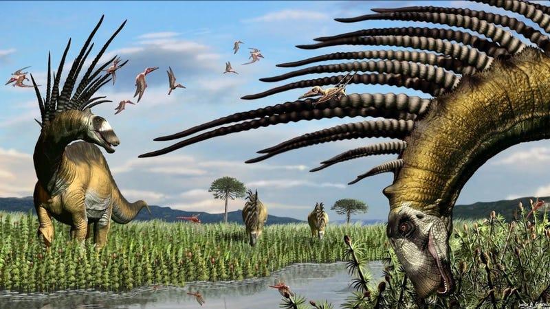 Impresión artística del Bajadasaurus pronuspinax, un dinosaurio saurópodo recién descubierto en Sudamérica