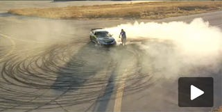 """Illustration for article titled Ken Block Drifts Subie Around A Segway In Amazing """"Gymkhana"""" Autocross Session"""