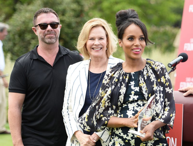 Actress and producer Kerry Washington (right) with James Casey, president and CEO, Integrated Wealth Management, and JoBeth Williams, president of the SAG-AFTRA Foundation, at a SAG-AFTRA Foundation golf fundraiser in Burbank, Calif., June 13, 2016Matt Winkelmeyer/Getty Images