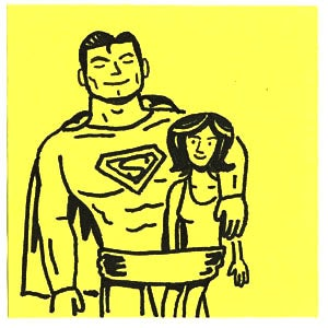 Illustration for article titled Post-it Comic Reveals the Perils of Catching Lois Lane on the Rebound