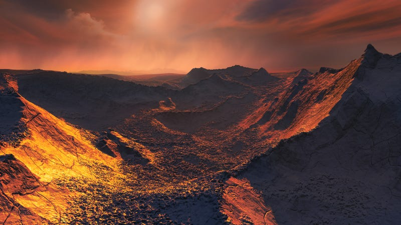Artist's impression of the planet and Barnard's star setting.