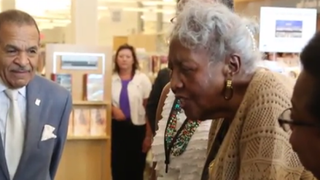 Pearl Thompson is honored at the Cameron Village Regional Library July 2, 2015, in Raleigh, N.C.YouTube screenshot