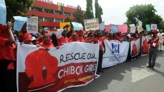 Members of civil society groups protest the abduction of Chibok schoolgirls during a rally in Abuja, Nigeria, May 6, 2014.PIUS UTOMI EKPEI/AFP/Getty Images