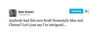 Illustration for article titled Aziz Ansari Knows the Best Questions Involve Mac & Cheese
