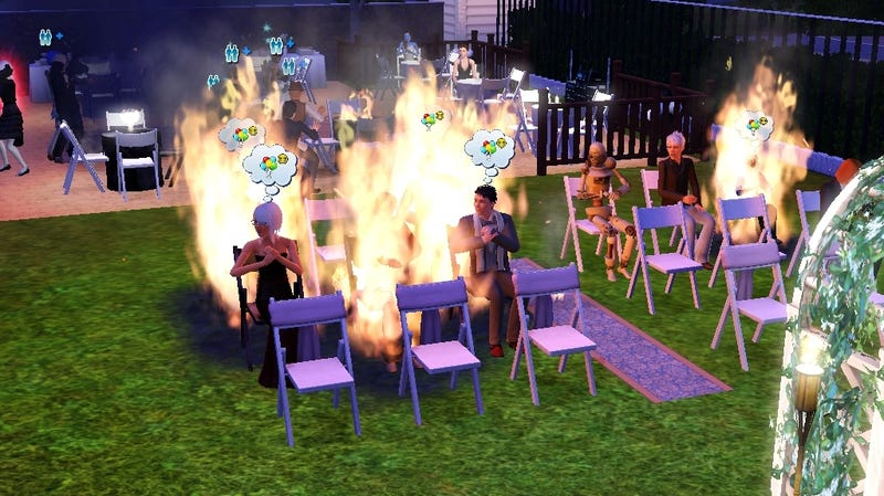 Illustration for article titled But What Happens If You Set Fire To The Video Game Wedding Guests?