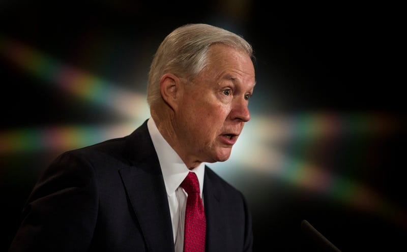 Attorney General Jeff Sessions at the Justice Department's 2017 African American History Month Observation on February 28, 2017 (Photo by Zach Gibson/Getty Images)