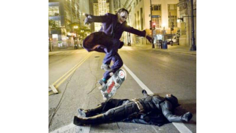 A doctored photo from the set of The Dark Knight