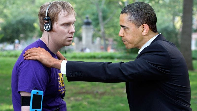 Obama's calm, piercing gaze helps a jogger come to terms with the timetable for withdrawal of troops in Iraq.