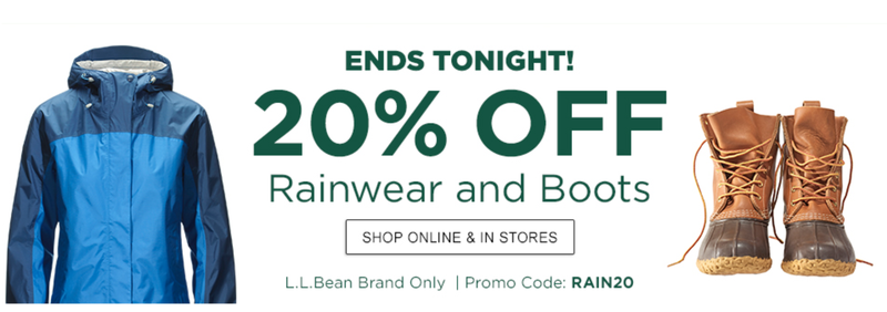20% off Boots and Rainwear | L.L. Bean | Promo code RAIN20