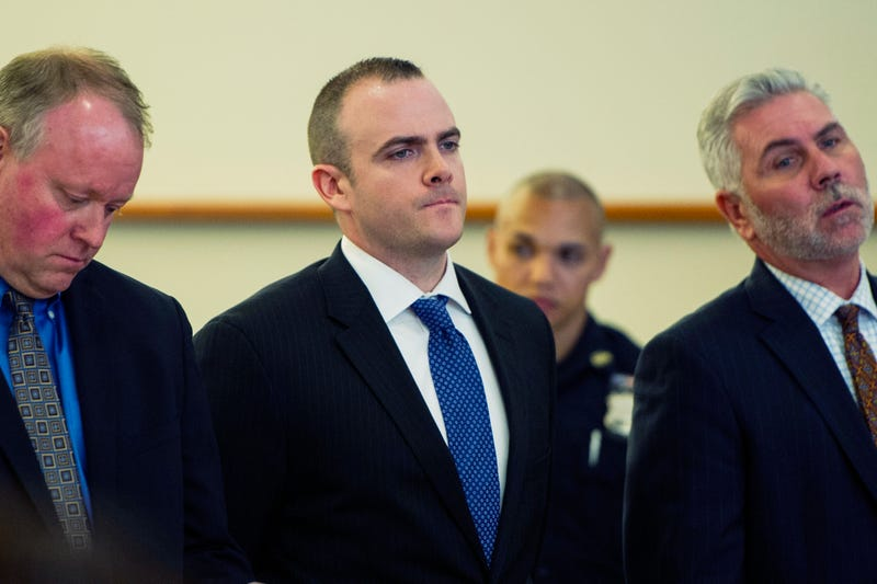 Police Sgt. Hugh Barry (center) is arraigned at Bronx Supreme Court in the death of Deborah Danner on May 31, 2017, in New York City.  (Gregg Vigliotti/the New York Times via AP/Pool/File)