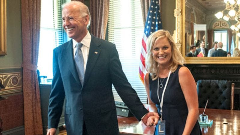 Illustration for article titled Parks And Recreation's Leslie Knope gets her chance to give Joe Biden his own private victory party