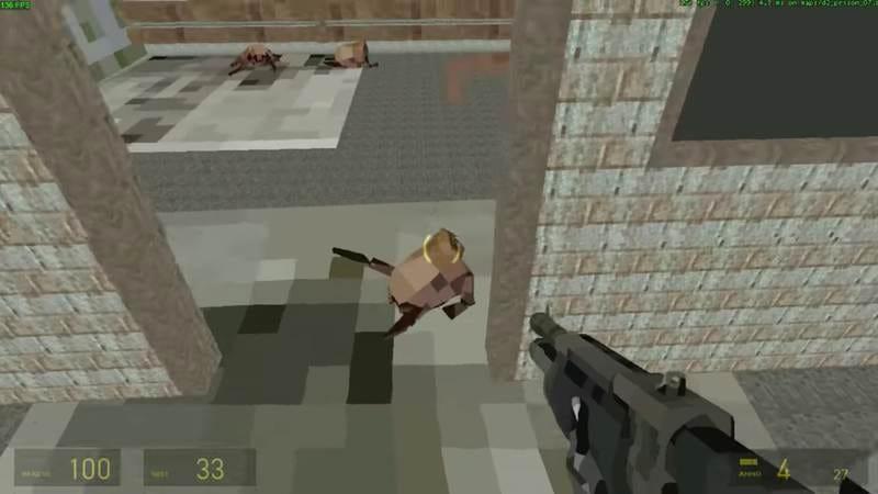 Screenshot: Super low Half-Life 2 on an Intel Atom