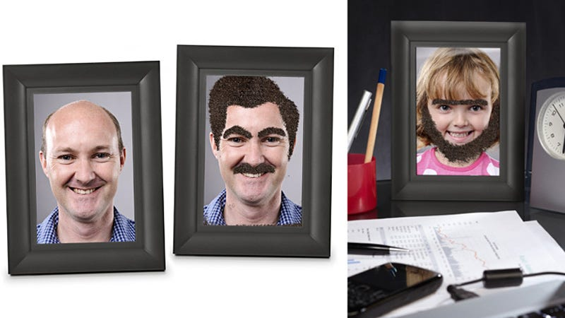 Illustration for article titled Deface Family Portraits with a Moustache-Making Photo Frame