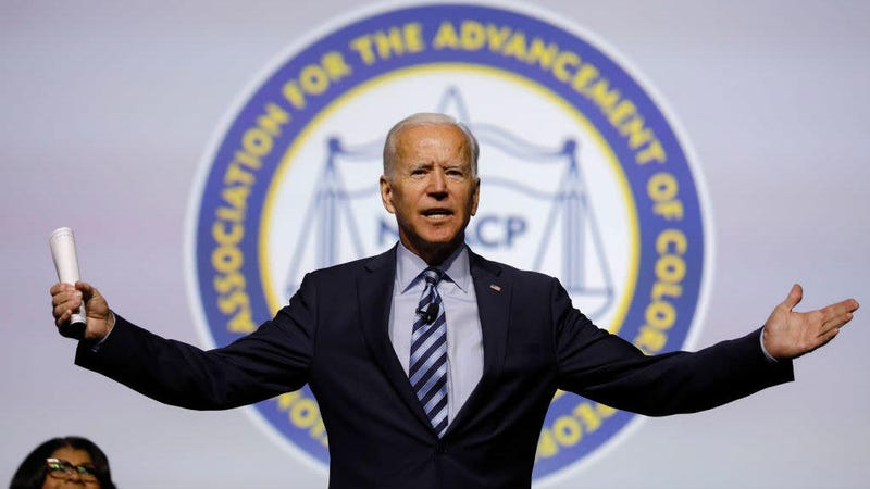 Former Vice President Joe Biden speaking at the NAACP's convention in Detroit July 24, 2019.