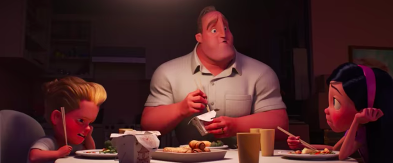 The Parr family sits down to dinner in a still from The Incredibles 2.