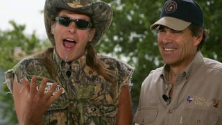 Ted Nugent with Texas Gov. Rick Perry in June 2005 in Crawford, Texas, where Nugent has lived since 2003PAUL J. RICHARDS/AFP/Getty Images