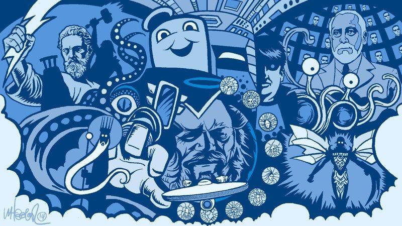 Illustration for article titled Sponsored: An illustrated timeline of fictional gods