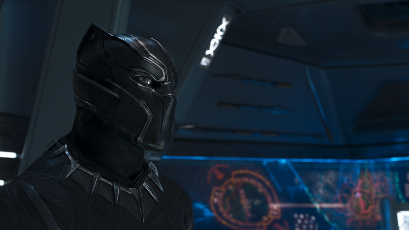 T'Challa in his Black Panther suit.
