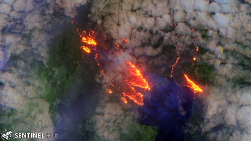 A bush fire near Lake Echo, Tasmania.