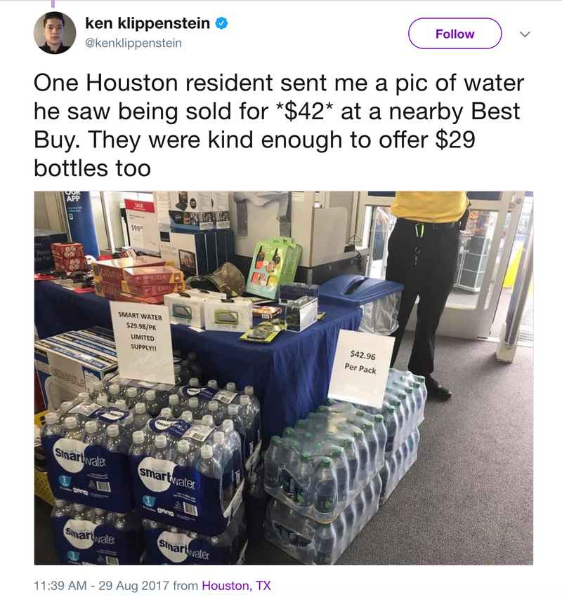 Houston Area Best Buy Accused Of Selling $42 Water After Hurricane Harvey
