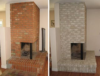 If you're remodeling a room and the new colors don't match the brick  fireplace, painting the fireplace is an inexpensive upgrade that make a  huge difference ...