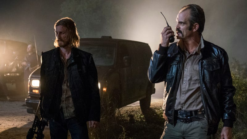 Dwight (Austin Amelio) and Simon (Steven Ogg) get psyched.