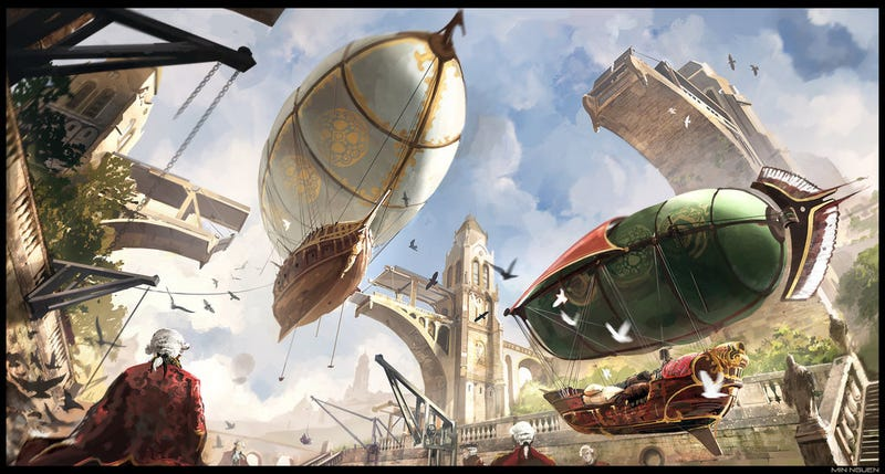 Illustration for article titled Gilded airships float from their towering docks