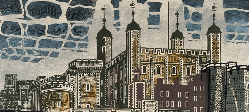 Illustration for article titled London Has Never Looked Better Than in These Mid-Century Linocuts