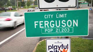 A sign welcomes visitors to Ferguson, Mo., on Sept. 10, 2014.Scott Olson/Getty Images