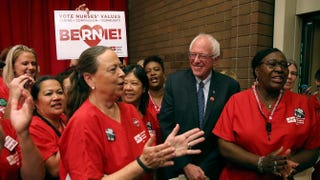 Sen. Bernie Sanders (I-Vt.) greets nurses as he arrives at a Brunch With Bernie campaign rally at the National Nurses United offices Aug. 10, 2015, in Oakland, Calif.Justin Sullivan/Getty Images