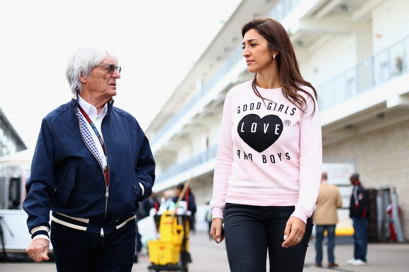 Bernie Ecclestone alongside wife Fabiana Flosi, daughter of the kidnapped Aparecida Schunk, at Austin's Circuit of The Americas in October 2013. Photo credit: Paul Gilham/Getty Images
