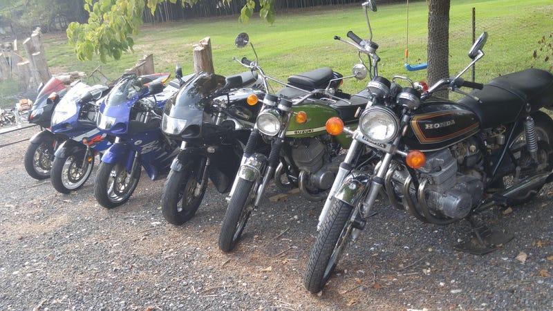 A CB750, 500cc Suzuki 3 GSX-R's and a Aprilia