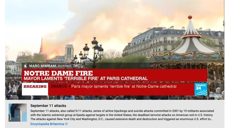 Illustration for article titled YouTube on Notre Dame Fire: Did You Know 9/11 Was Real?