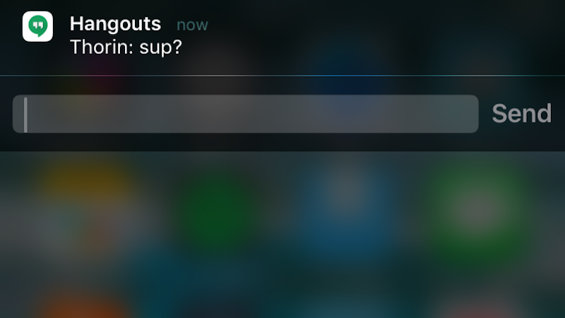 Illustration for article titled Hangouts for iOS Improves Notification Support, Adds Quick Replies