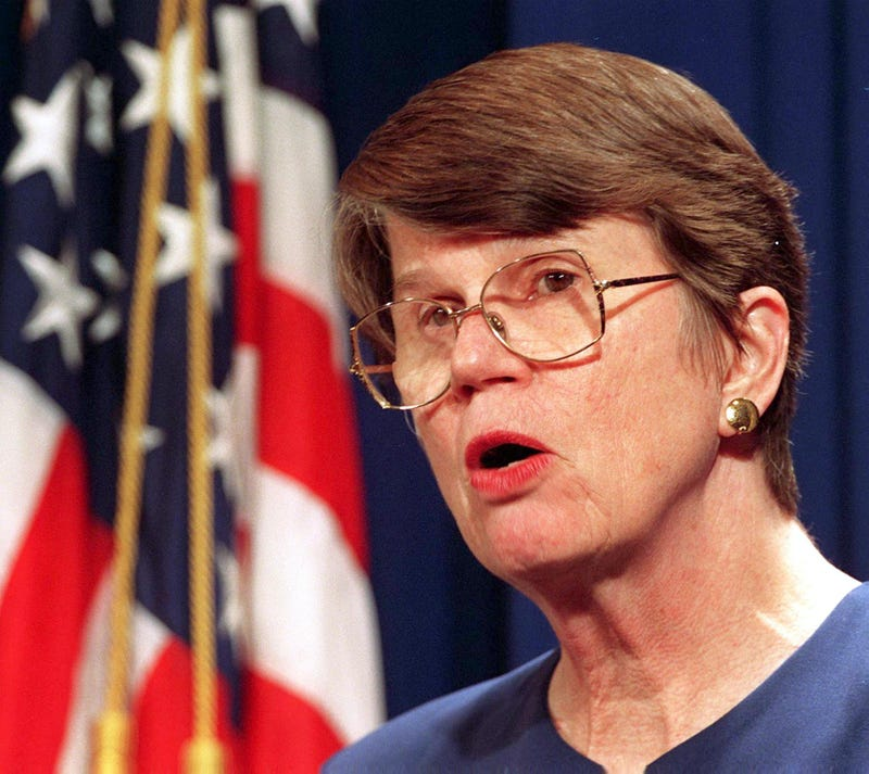 U.S. Attorney General Janet Reno in 1997 PAUL J. RICHARDS/AFP/Getty Images