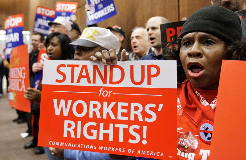 Vickie Hart participates in a union rally Monday, April 4, 2011, in Cleveland. Organized labor is linking a fight for public employee collective bargaining rights to the memory of the Rev. Dr. Martin Luther King Jr. Unions across Ohio are holding rallies to mark Monday's 43rd anniversary of King's assassination in Memphis, Tenn., where he was backing a strike by sanitation workers.