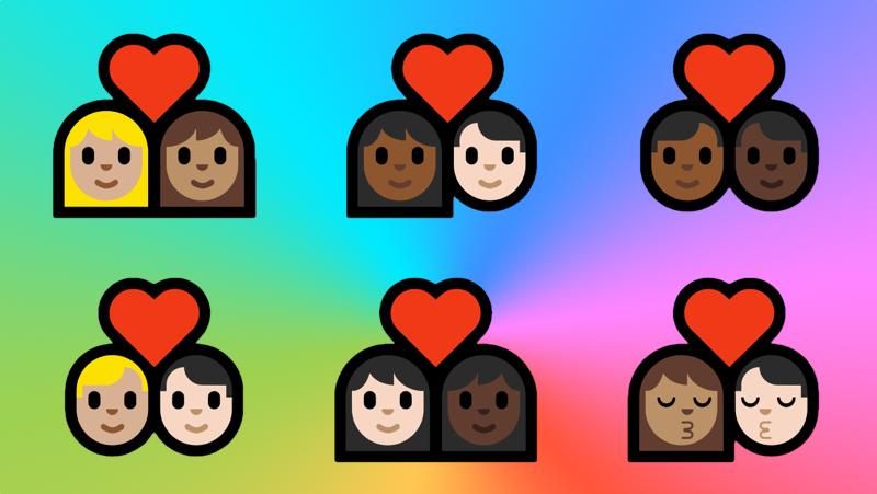 Nuevas parejas interraciales en los emojis de Windows 10. Imagen: Gizmodo en Español
