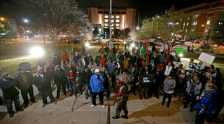 Protesters gathered in downtown Fort Worth, Texas, on Dec. 22, 2016Dallas News Screenshot