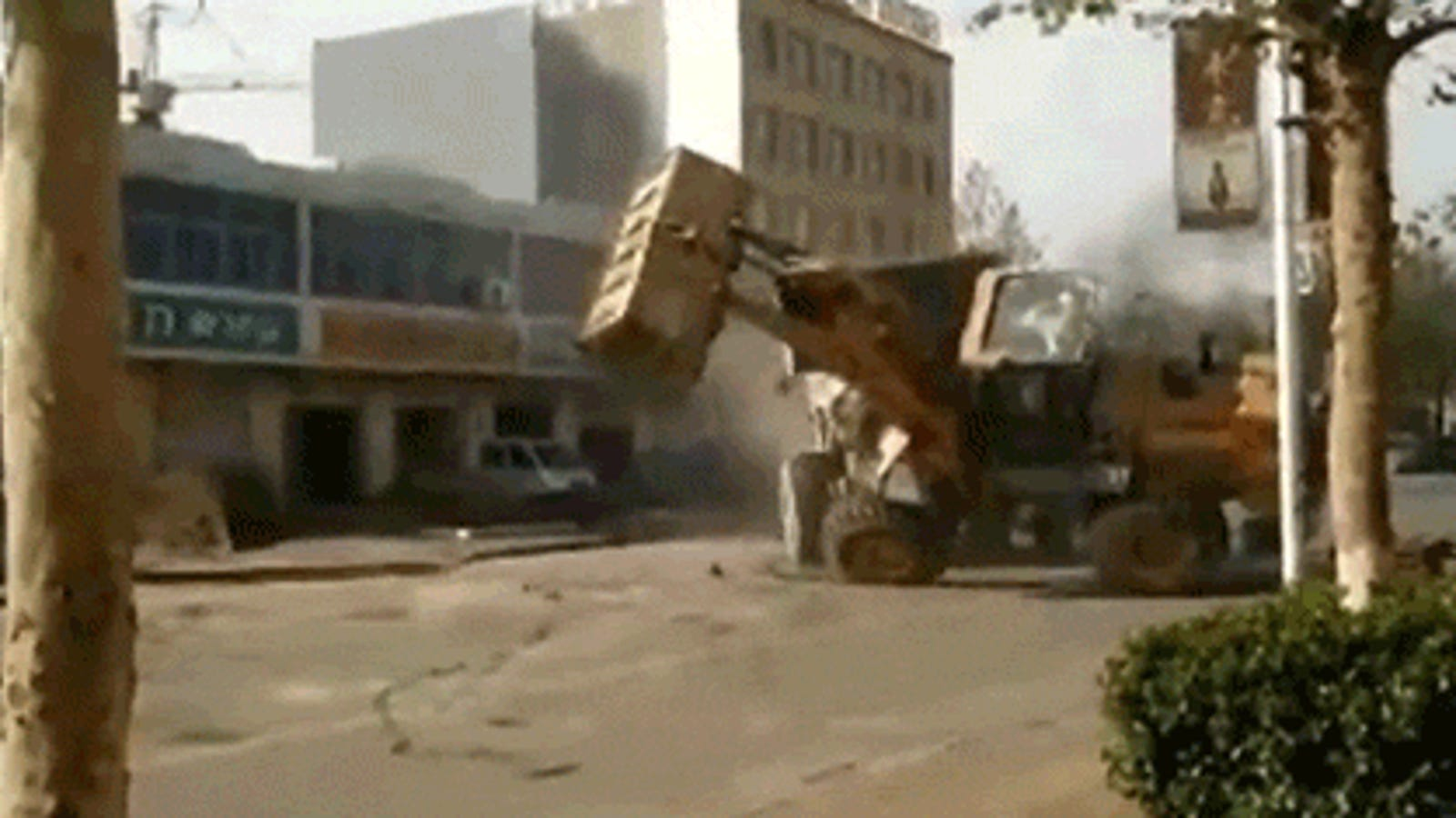 Watch Six Bulldozers Battle Each Other on the Streets of China in the Craziest Fight Ever