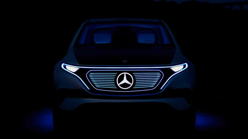 "The Mercedes-Benz EQ concept, which is actually meant to be an electric car. Mercedes, surprisingly, actually knows how add adjectives to the words ""electrified"" and ""electrification"" to make them more clear. Gold star. Image via Mercedes-Benz"