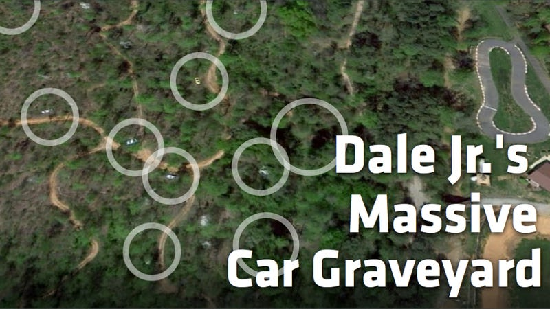 Illustration for article titled See Dale Earnhardt Jr.'s Secret Race Car Graveyard With Google Maps