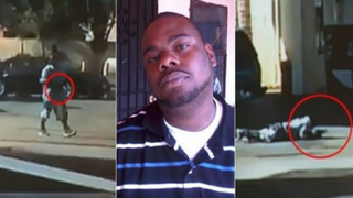 Los Angeles County sheriff's officials released two images (left and right) they say show 28-year-old Nicholas Robertson (center) holding a gun before and while deputies fatally shot at him 33 times Dec. 12, 2015.ABC 7 screenshot