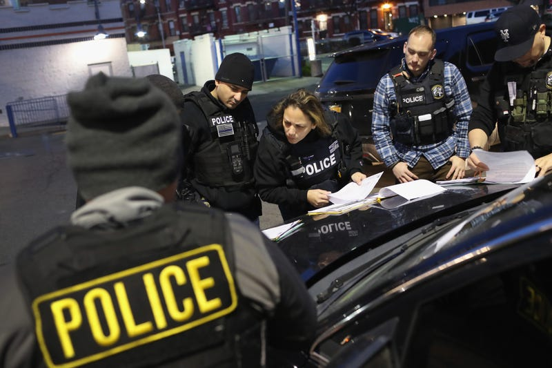 U.S. Immigration and Customs Enforcement (ICE), officers prepare for morning raids to arrest undocumented immigrants on April 11, 2018 in New York City.