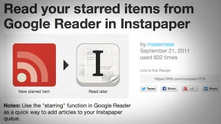 Illustration for article titled Automatically Send Starred Google Reader Articles to Pocket or Instapaper