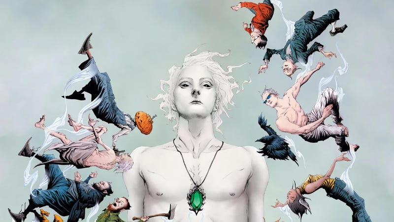Various characters from the Dreaming float around Dream on the cover of The Sandman Universe.