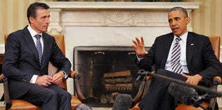 Obama and NATO Secretary-General Rasmussen in Washington, D.C., on May 31, 2013. (Mandel Ngan/AFP/Getty Images)